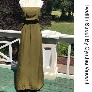 🍃 CYNTHIA VINCENT Olive Tube Maxi Dress S
